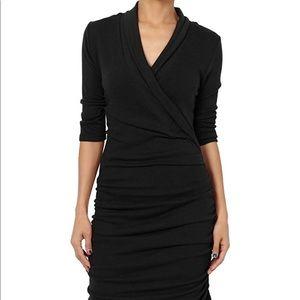 Rachel Roy black ruched wrap dress 12